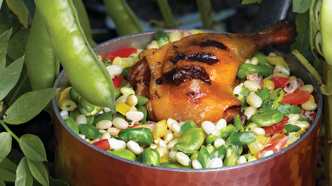 Grilled Duck Confit – Summer Bean Cassoulet, Heirloom Tomatoes