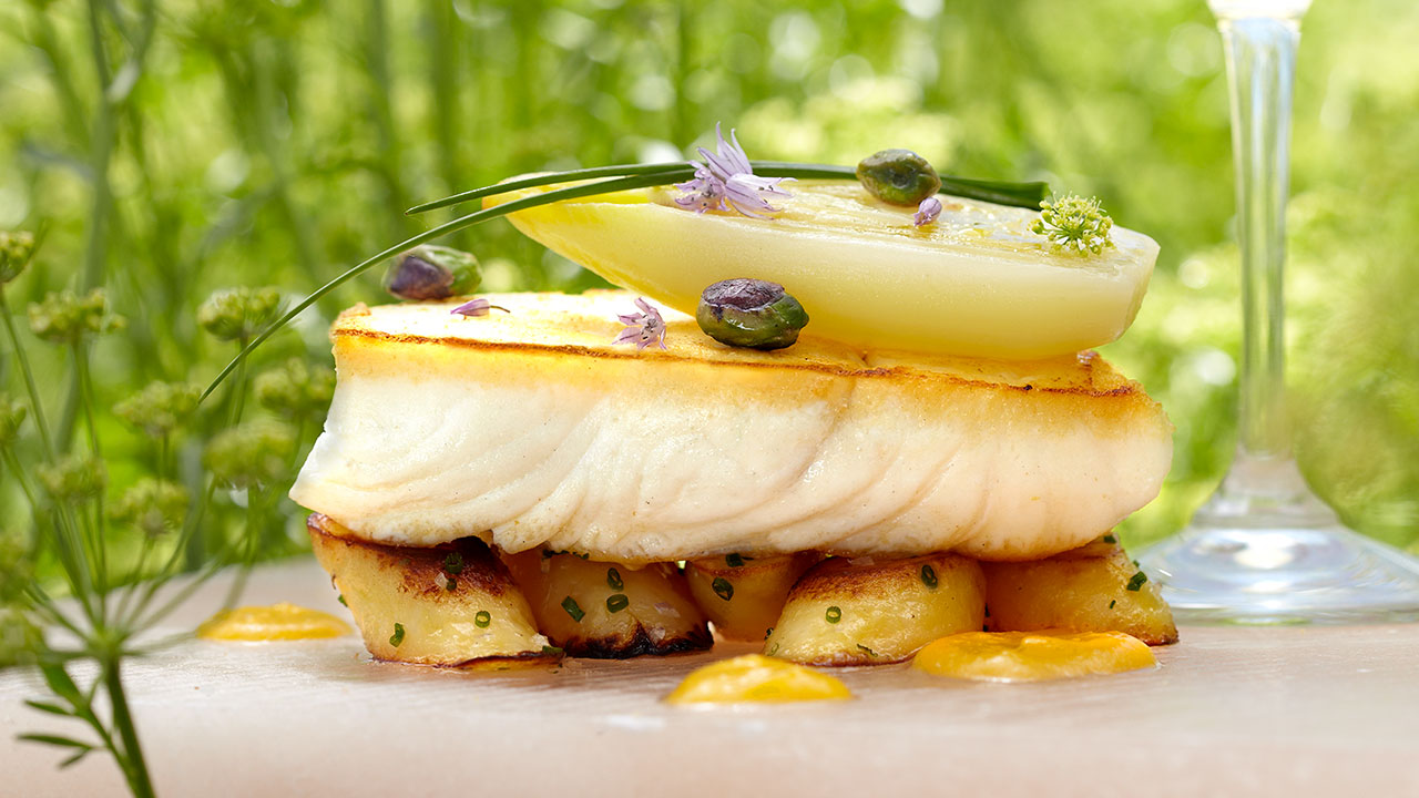 Pan-Seared Halibut – Melted Endive, Roasted Fingerling Potatoes, Pistachios, Apricot Coulis