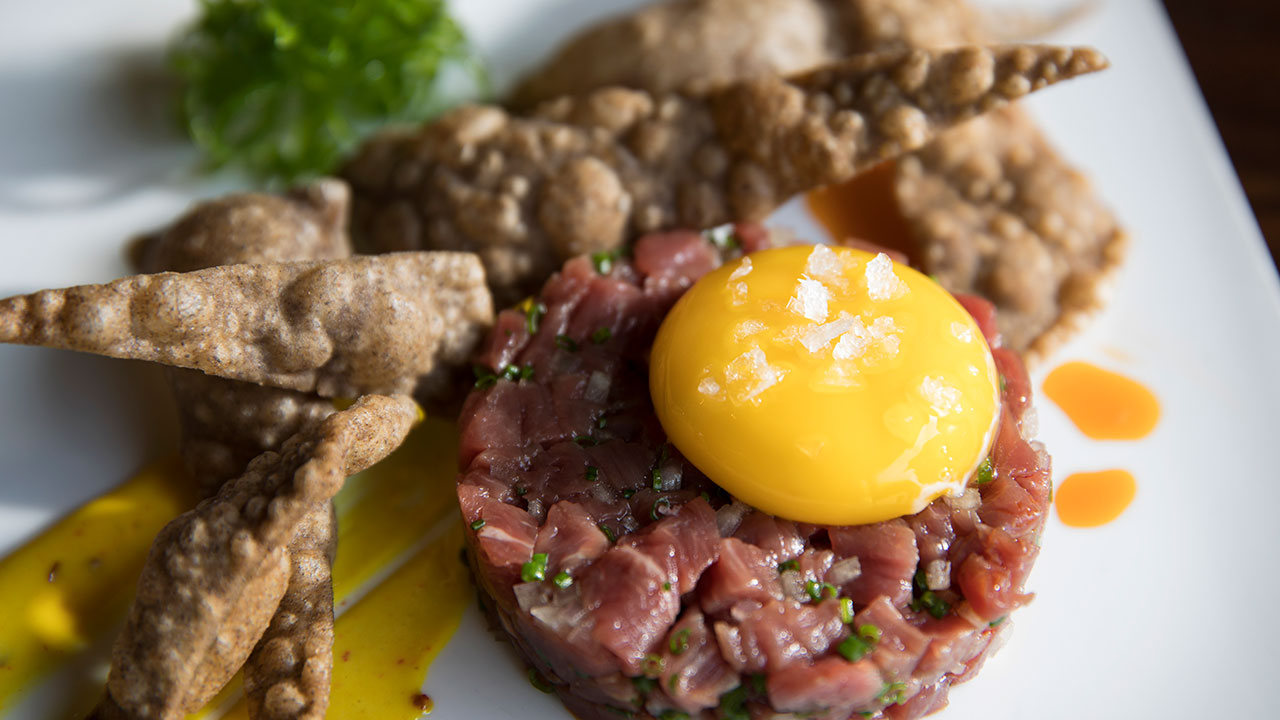 Beef Tartare – Buckwheat Lavosh, Scallion Salad, Madras Curry Aioli, Chive, Parsley