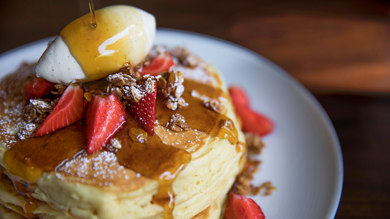 Buttermilk Pancakes – Garden Strawberries, JORY Granola, Vanilla-Whipped Mascarpone, Maple Syrup