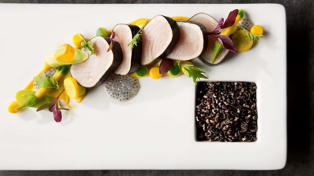 Oregon Albacore Tataki – Black Rice – Nori, Garden Squash, Basil Seeds, Mizuna