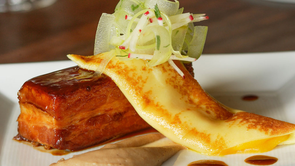 Cinnamon-Glazed Pork Belly – Apricot Crepe, Celery-Radish Slaw, Whipped Chestnuts