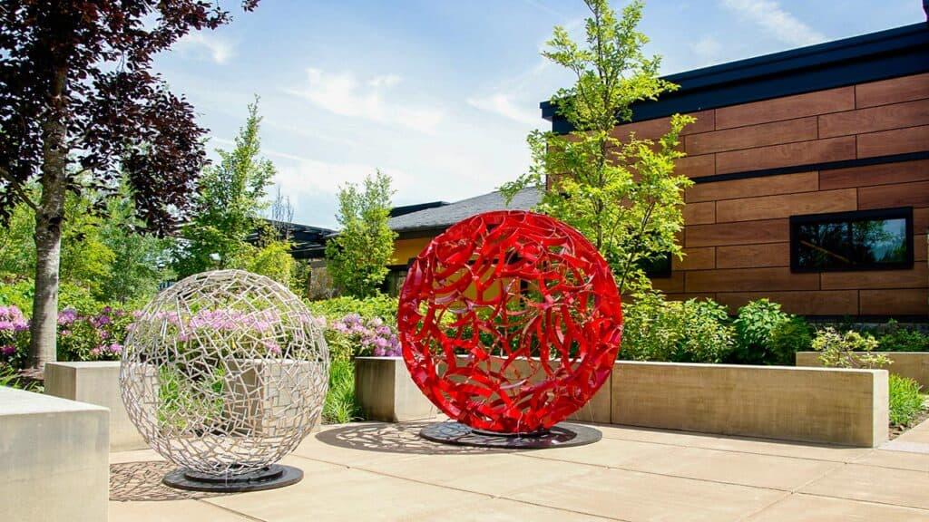 """60"""" Sphere (red) by: Ivan McLean"""