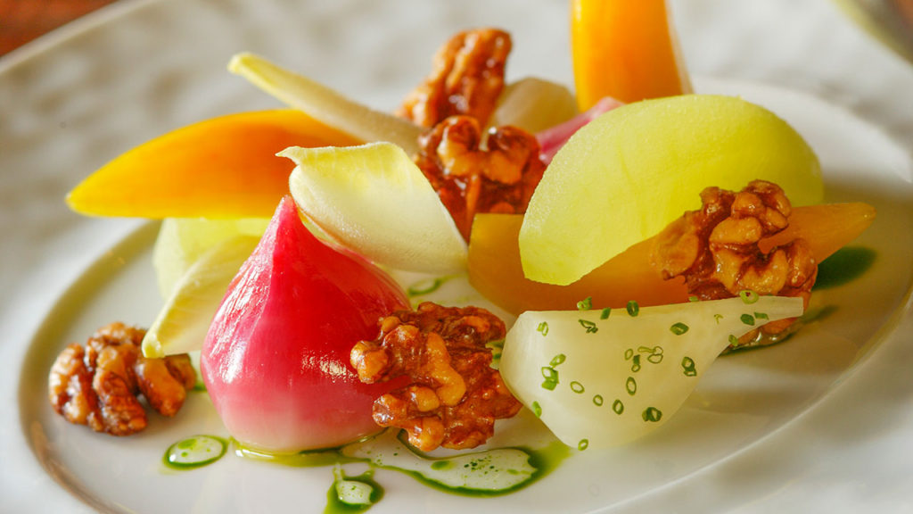 Beet Salad – Sake-Poached Apples, Candied Walnuts, Endive, Tarragon Gastrique